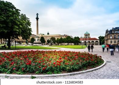 STUTTGART, GERMANY - June 25, 2018: Schlossplatz is the largest square in the center of Stuttgart, GERMANY