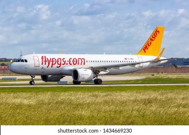 Stuttgart, Germany – June 8, 2019: Pegasus Airlines Airbus A320neo airplane at Stuttgart airport (STR) in Germany.