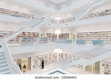 STUTTGART, GERMANY - MAR 23, 2013: Interior of new public library in  Stuttgart.  The library, opened in October 2011 and designed by Yi Architects, had  2.691.892 visitors  in 2012. March 23, 2013. Stuttgart