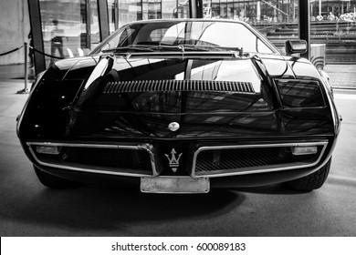 "STUTTGART, GERMANY - MARCH 02, 2017: Sports car Maserati Bora (Tipo 117), 1971. Black and white. Europe's greatest classic car exhibition ""RETRO CLASSICS"""