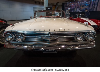 "STUTTGART, GERMANY - MARCH 02, 2017: Full-size car Chevrolet Impala Convertible, 1960. Europe's greatest classic car exhibition ""RETRO CLASSICS"""