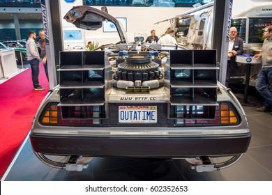"STUTTGART, GERMANY - MARCH 02, 2017: The DeLorean time machine (Back to the Future franchise) based on a DeLorean DMC-12 sports car. Europe's greatest classic car exhibition ""RETRO CLASSICS"""