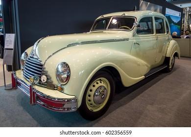 "STUTTGART, GERMANY - MARCH 02, 2017: Vintage car Awtovelo EMW/BMW 340-2, 1952. Europe's greatest classic car exhibition ""RETRO CLASSICS"""