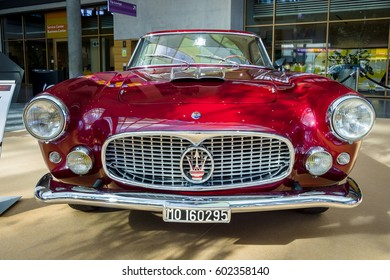 "STUTTGART, GERMANY - MARCH 02, 2017: Grand tourer car Maserati 3500 GT (Tipo 101), 1958. Europe's greatest classic car exhibition ""RETRO CLASSICS"""