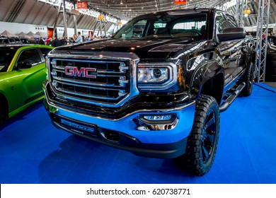 "STUTTGART, GERMANY - MARCH 03, 2017: Heavy-Duty pickup truck GMC Sierra 1500 Crew Cab SLT, 2017. Europe's greatest classic car exhibition ""RETRO CLASSICS"""