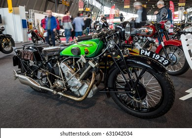 "STUTTGART, GERMANY - MARCH 03, 2017: The motorcycle Panther Model 100, 1929. Europe's greatest classic car exhibition ""RETRO CLASSICS"""