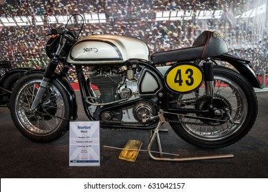 "STUTTGART, GERMANY - MARCH 03, 2017: Racing motorcycle Norton Manx, 1951. Europe's greatest classic car exhibition ""RETRO CLASSICS"""