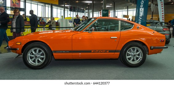 "STUTTGART, GERMANY - MARCH 03, 2017: Sports car Datsun 240Z (Nissan S30), 1971. Europe's greatest classic car exhibition ""RETRO CLASSICS"""