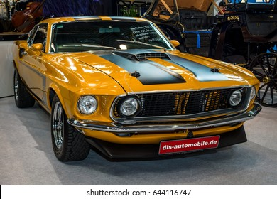 """STUTTGART, GERMANY - MARCH 04, 2017: Pony car Ford Mustang, 1969. Europe's greatest classic car exhibition """"RETRO CLASSICS"""""""