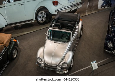 "STUTTGART, GERMANY - MARCH 04, 2017: Compact car Volkswagen Beetle Cabrio. View from above. Europe's greatest classic car exhibition ""RETRO CLASSICS"""