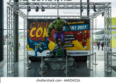 STUTTGART, GERMANY - MARCH 04, 2017: Announcement of the upcoming event Comic Con Germany at the Messe Stuttgart exhibition center.