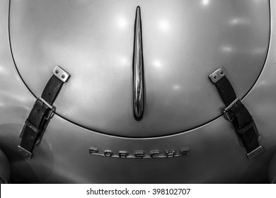 """STUTTGART, GERMANY - MARCH 17, 2016: Fragment of a sports car Porsche 356 Speedster. Black and white. Europe's greatest classic car exhibition """"RETRO CLASSICS"""""""