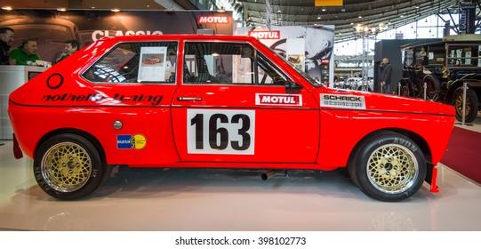 "STUTTGART, GERMANY - MARCH 17, 2016: Supermini economy car Audi 50, 1975. Europe's greatest classic car exhibition ""RETRO CLASSICS"""