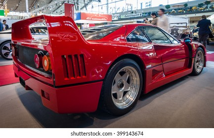 "STUTTGART, GERMANY - MARCH 17, 2016: Sports car Ferrari F40, 1989. Rear view. Europe's greatest classic car exhibition ""RETRO CLASSICS"""