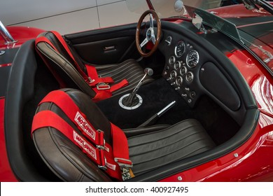 "STUTTGART, GERMANY - MARCH 17, 2016: Cabin of a sports car Phoenix-Cobra by Classic Motors Design GmbH, 1989. Europe's greatest classic car exhibition ""RETRO CLASSICS"""