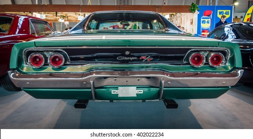 "STUTTGART, GERMANY - MARCH 17, 2016: Muscle car Dodge Charger R/T, 1968. Rear view. Europe's greatest classic car exhibition ""RETRO CLASSICS"""