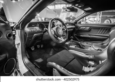 "STUTTGART, GERMANY - MARCH 17, 2016: Cabin of pony car Ford Mustang GT fastback coupe (sixth generation), 2015. Black and white. Europe's greatest classic car exhibition ""RETRO CLASSICS"""