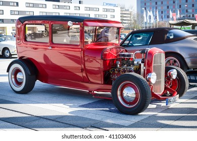 "STUTTGART, GERMANY - MARCH 18, 2016: Retro car Ford Model A Tudor Sedan, 1928. Europe's greatest classic car exhibition ""RETRO CLASSICS"""