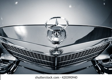 STUTTGART, GERMANY- MARCH 19, 2016: Fragment of full-size luxury car Mercedes-Benz 300 SEL 6.3, 1972. Black and white. Mercedes-Benz Museum.