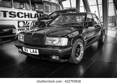 STUTTGART, GERMANY- MARCH 19, 2016: Compact executive car Mercedes-Benz 190E 2.3 AMG (W201), 1984. The owner of Ringo Starr (musician and drummer of the Beatles). Black and white. Mercedes-Benz Museum