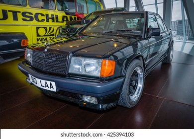 STUTTGART, GERMANY- MARCH 19, 2016: Compact executive car Mercedes-Benz 190E 2.3 AMG (W201), 1984. The owner of Ringo Starr (ex-musician and drummer of the Beatles). Mercedes-Benz Museum.