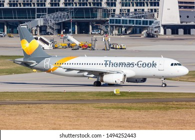 Stuttgart, Germany – March 21, 2019: Thomas Cook Airbus A320 airplane at Stuttgart airport (STR) in Germany.