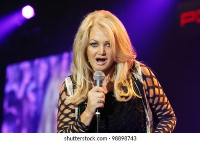 STUTTGART, GERMANY - MARCH 24: Singer Bonnie Tyler live in concert on stage at the festival March 24, 2012 in Stuttgart, Germany