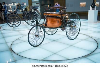 "STUTTGART, GERMANY - MARCH 30, 2014: Museum ""Mercedes-Benz Welt"". Benz Patented motorized wheelchair (1886)"