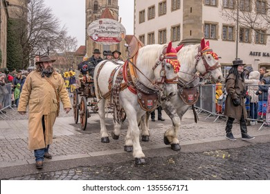 STUTTGART, GERMANY - MARCH 5 2019: big horses pull wagon under light rain. Shot  at  Carnival parade in city center on march 5, 2017 Stuttgart, Germany