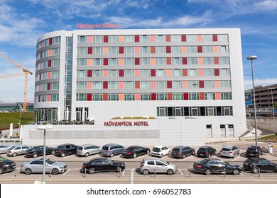 Stuttgart, Germany - May 06, 2017: Movenpick Hotel near airport Stuttgart and Stuttgart trade fair (Messe).