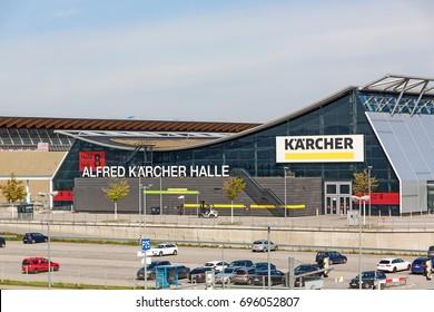 Stuttgart, Germany - May 06, 2017: Stuttgart trade fair (Messe) Alfred Kärcher Halle (Halle 8)