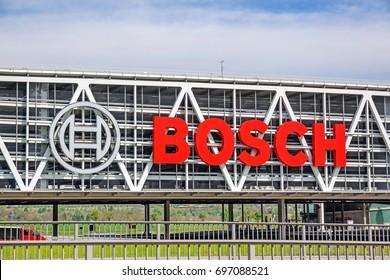 Stuttgart, Germany - May 06, 2017: Bosch Car Park near motorway A8, airport Stuttgart and trade fair