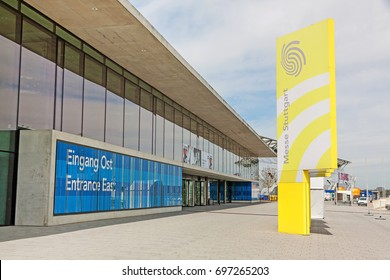 Stuttgart, Germany - May 06, 2017: Trade fair Stuttgart, entrance east (Eingang Ost) - corporate logo at building facade