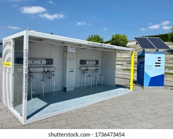 Stuttgart, Germany - May 16, 2020: Modern electric bike charging station. Green technology concept by manufacturer ChargingCube, a solar powered container with several cables providing free of charge