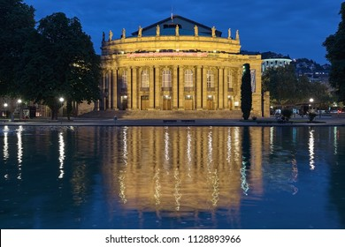 STUTTGART, GERMANY - MAY 20, 2018: Opera House of Stuttgart State Theater in dusk. The Opera House, formerly known as the Grosses Haus, was designed by architect Max Littmann and built in 1909-1912.