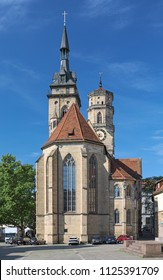 STUTTGART, GERMANY - MAY 21, 2018: Stiftskirche (Collegiate Church) at Schillerplatz square. The church was built in 1240, expanded in the next centuries, damaged by bombs in 1944 and rebuilt in 1950s