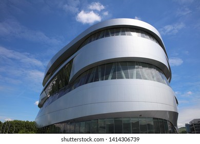 Stuttgart, Germany – May 31, 2019: The Mercedes-Benz Museum in Stuttgart. It is located in Bad Cannstatt and part of the Mercedes Benz Welt. Built in 2006 its one of the attractions of Stuttgart