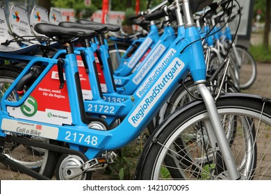 Stuttgart, Germany – May 31, 2019: City Bike rental Station in Stuttgart. Germany