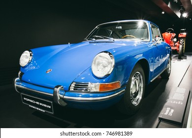 "STUTTGART, GERMANY - NOVEMBER 01, 2017: Interior and exhibits of ""Porsche Museum"""