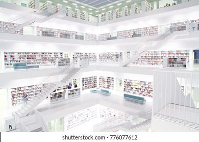 Stuttgart, Germany - NOVEMBER 08, 2014: Stuttgart modern and spacious municipal library interior