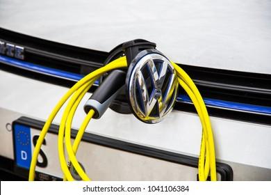 Stuttgart, Germany - November, 16 2017: Volkswagen Golf GTE at electrical charging station