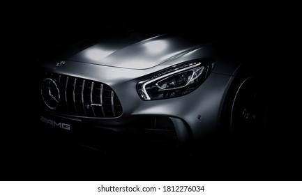 Stuttgart, Germany - November, 16 2017:  Mercedes-Benz AMG GTR in darkness. Sport car in darkness