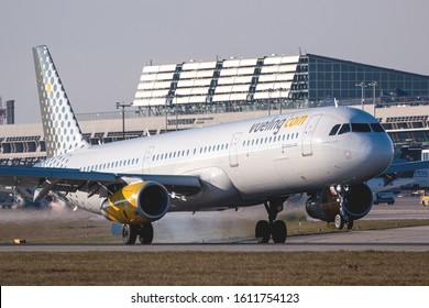 Stuttgart, Germany - November 25, 2018: Vueling Airlines Airbus A321 airplane at Stuttgart airport (STR) in Germany. Airbus is an aircraft manufacturer from Toulouse, France.
