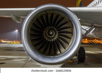 Stuttgart, Germany - November 27, 2018: IAE V2527-A5 engine on an Airbus A320 airplane at Stuttgart airport (STR) in Germany. Airbus is a European aircraft manufacturer based in Toulouse, France.