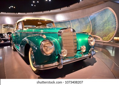 Stuttgart, Germany - November, 29 2017: Historic Mercedes cars associated with the brand are presented in the Mercedes-Benz museum in Stuttgart