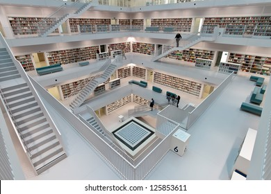 STUTTGART, GERMANY - OCT 23: The Stuttgart City Library on October 23, 2012 in Stuttgart, Germany. In the first year after its opening, the library has attracted more than 1.000.000 visitors.