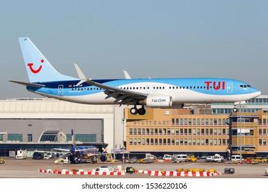 Stuttgart, Germany - October 13, 2018: TUI Boeing 737 airplane at Stuttgart airport (STR) in Germany.