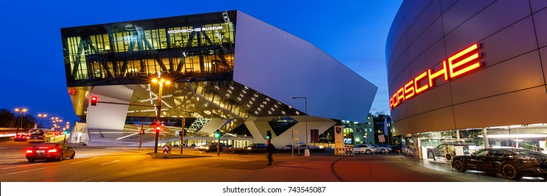 STUTTGART, GERMANY - OCTOBER 25: Porsche Museum at night on October 25, 2017 in Stuttgart.