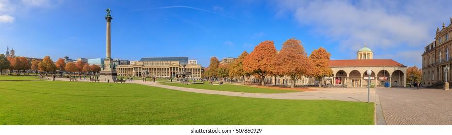 STUTTGART, GERMANY - OCTOBER 30, 2016: Downtown Stuttgart Schlossplatz in autumn colors