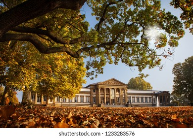 Stuttgart Germany park and Schloss Rosenstein in autumn